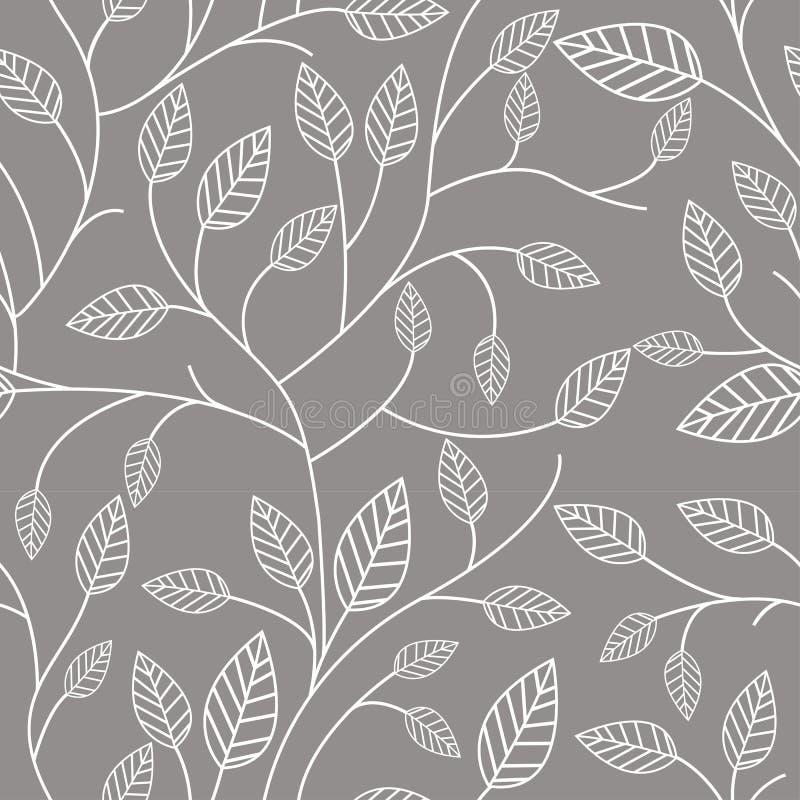 Het naadloze patroon met doorbladert stock illustratie