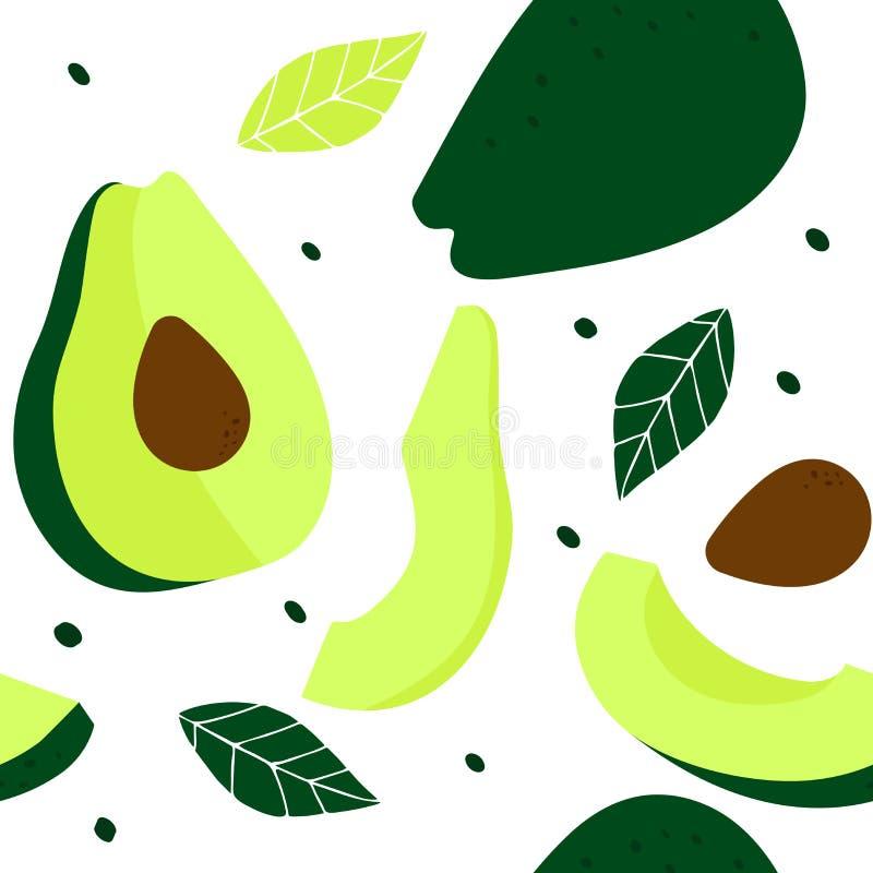 Het naadloze patroon met een gehele avocado, een avocado sneed in de helft, plakken van avocado's, zaden en bladeren royalty-vrije illustratie