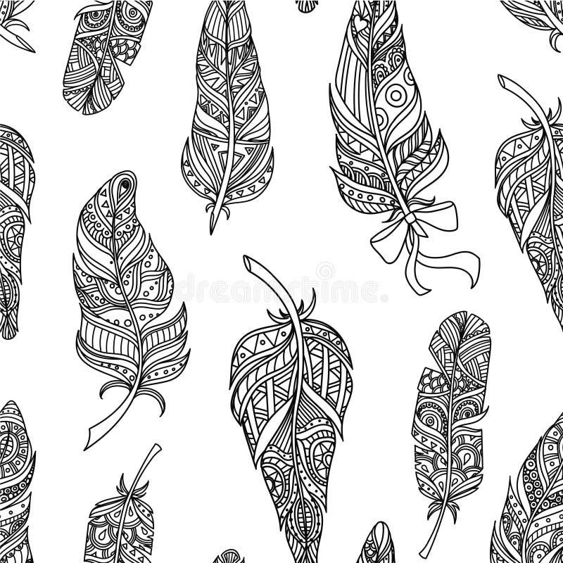 Het naadloze Patroon met Gestileerde Veren, Ontwerpelement kan voor Stof, Behang, Verpakking, Zwart-wit Vector worden gebruikt royalty-vrije illustratie