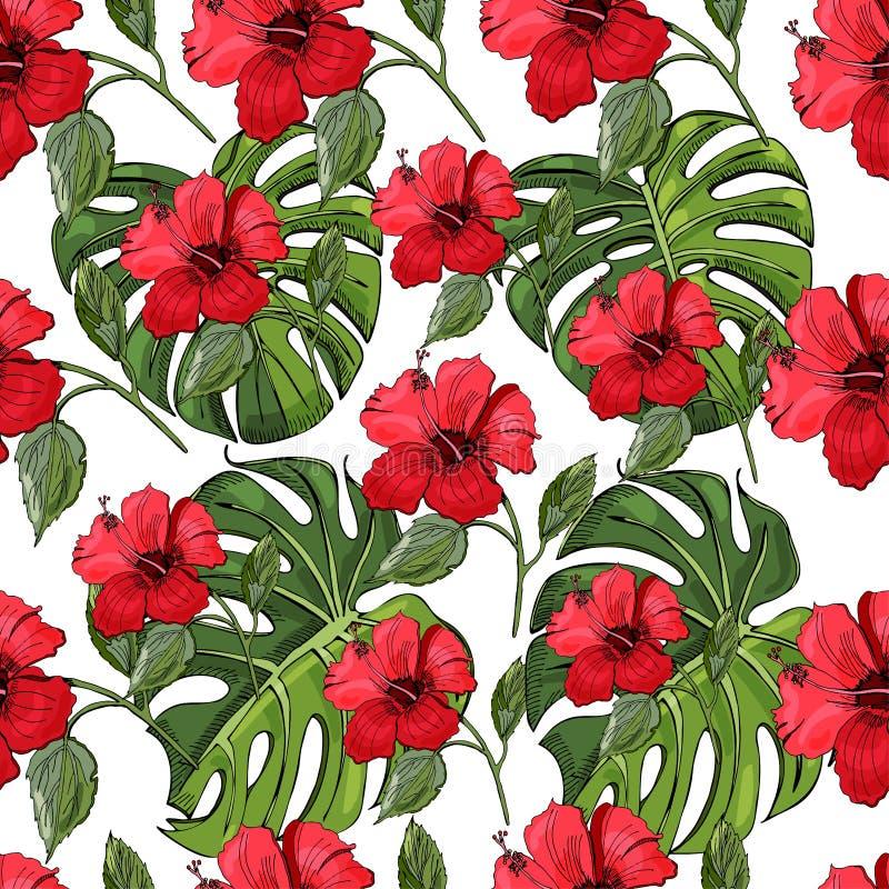 Het naadloze patroon met getrokken en gekleurde hand schets van hibiscusbloemen en monstera gaat weg Elementen op witte achtergro stock illustratie