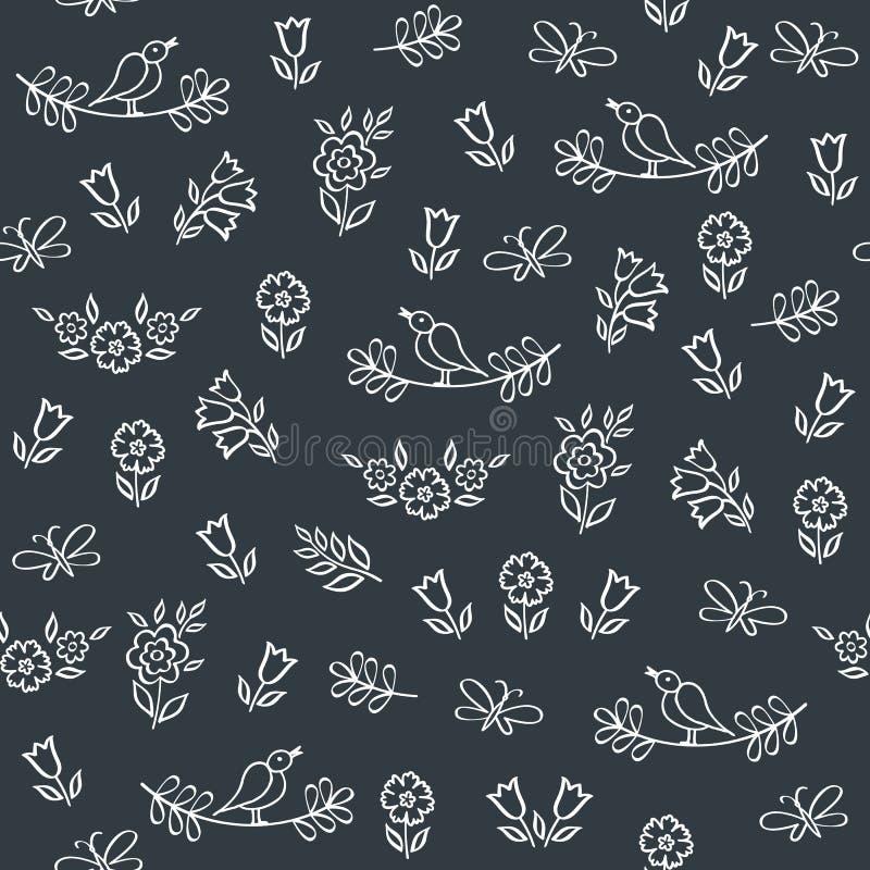 Het naadloze patroon met getrokken hand bloeit voor de Dag van Valentine, de dag van de moeder, verjaardag, huwelijk, Pasen stock illustratie