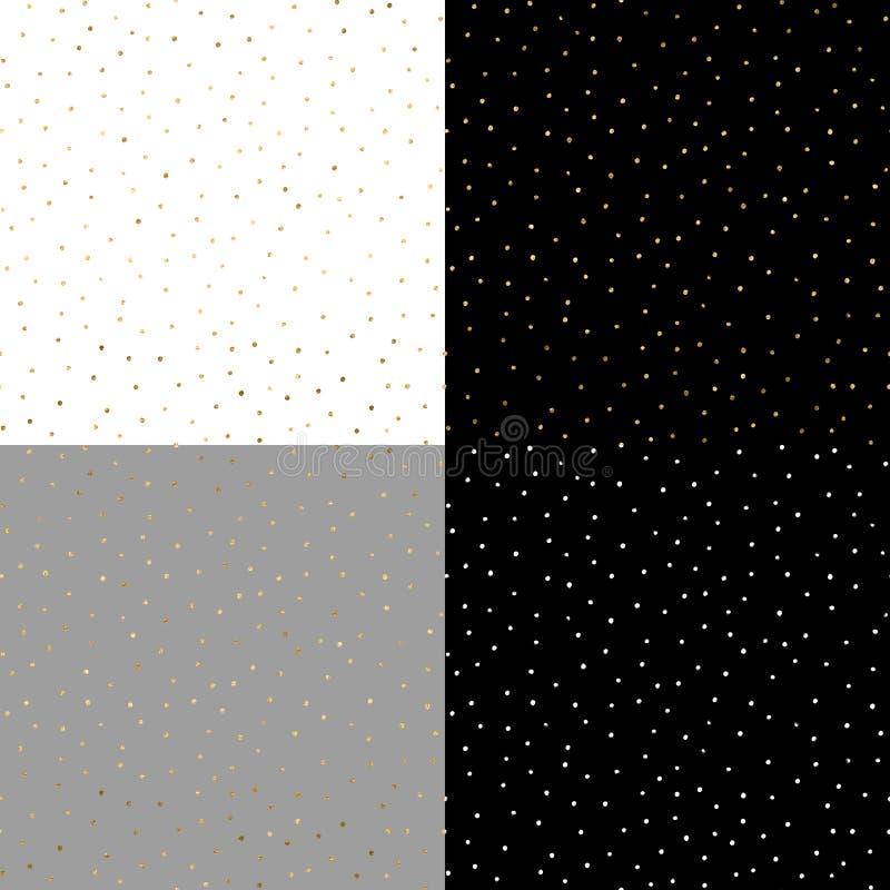 Het naadloze patroon met goud schilderde punten op de witte, grijze, zwarte achtergronden royalty-vrije illustratie