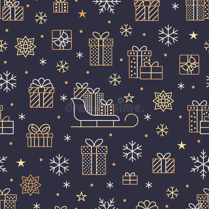 Het naadloze patroon met gouden sneeuwvlokken en stelt op donkere purpere achtergrond voor Vlakke de dozenpictogrammen van de lij vector illustratie