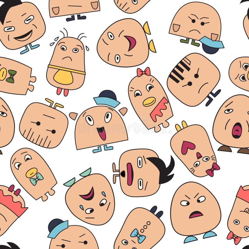 Het naadloze patroon met grappig karakter ziet avatars onder ogen stock illustratie
