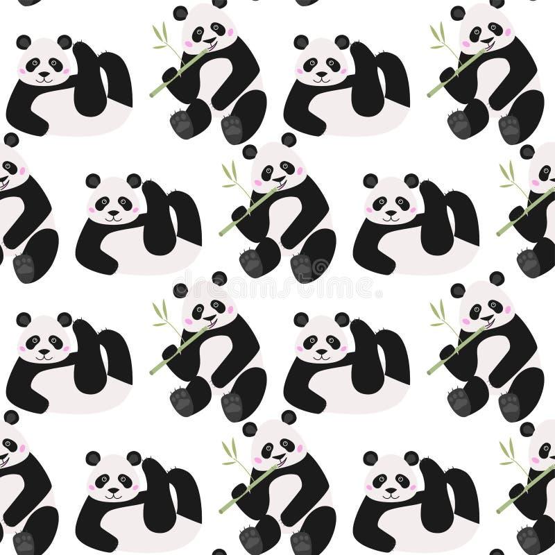 Het naadloze patroon met grappige panda draagt, vectorillustratie stock illustratie