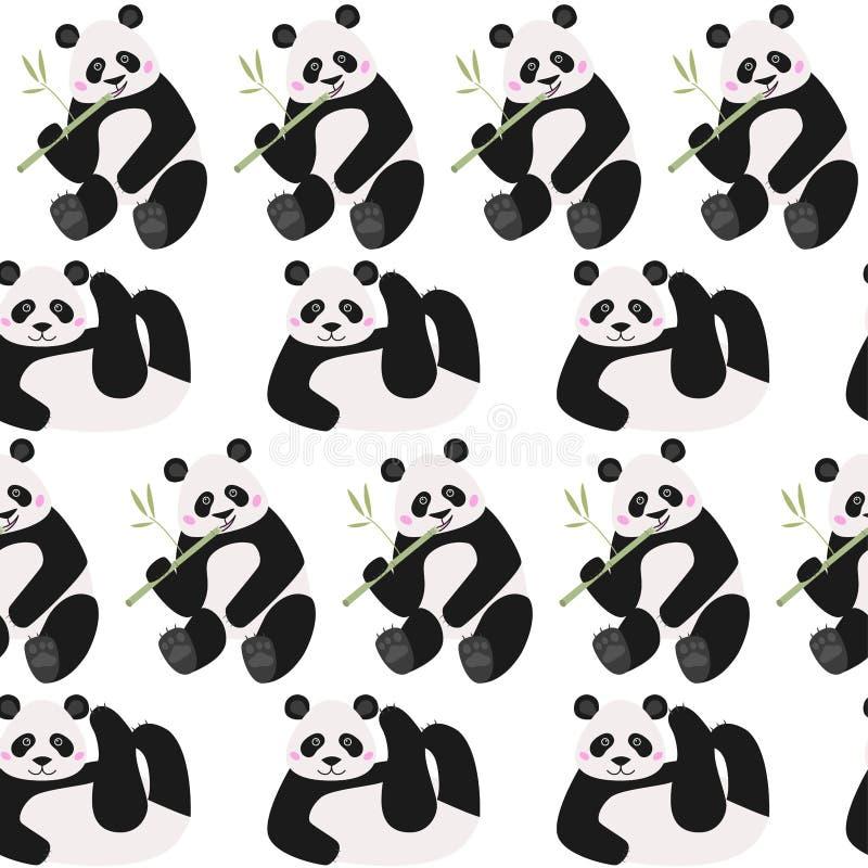 Het naadloze patroon met grappige panda draagt, vectorillustratie vector illustratie