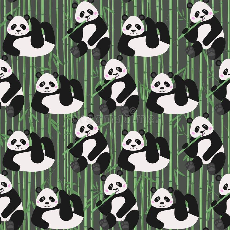 Het naadloze patroon met grappige panda draagt, vectorillustratie royalty-vrije illustratie