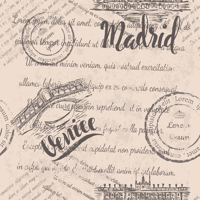 Het naadloze patroon met hand getrokken de Rialto-Brug, van letters voorziend Venetië, hand getrokken Royal Palace van Madrid, va stock illustratie