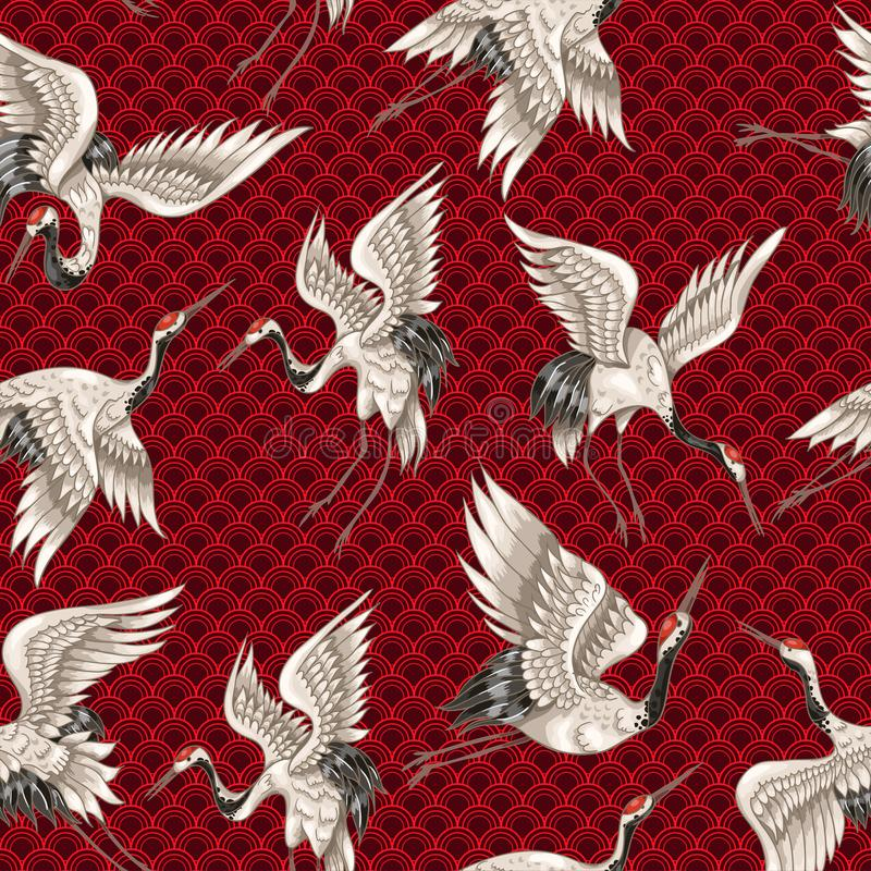 Het naadloze patroon met Japanse witte kranen in verschillend stelt voor uw ontwerpborduurwerk, textiel, druk stock illustratie