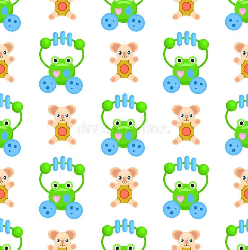 Het naadloze Patroon met Kikkers en Pluche draagt Speelgoed vector illustratie