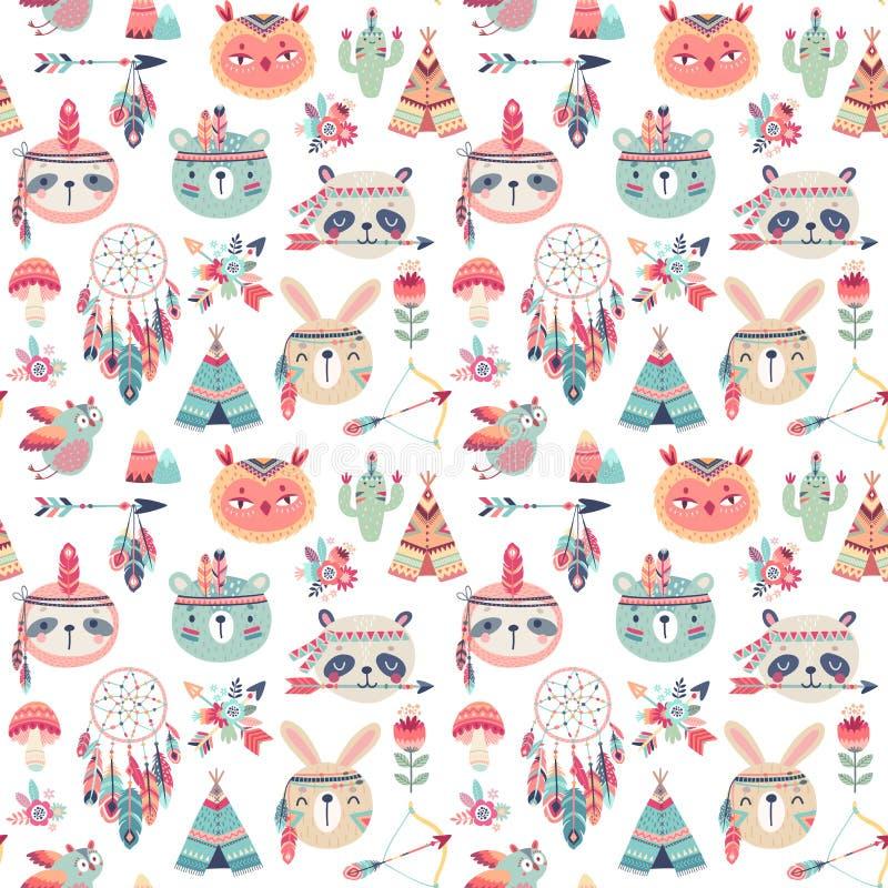 Het naadloze patroon met Leuk Bosboho stammenpatroon, konijn, uil, luiaard, panda, draagt Amerikaanse Indische reeks van stock illustratie