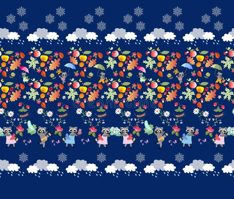 Het naadloze patroon met leuke beeldverhaaldieren, de herfstbladeren, schiet, bessen en vruchten, groenten, wolken met regendalin stock illustratie