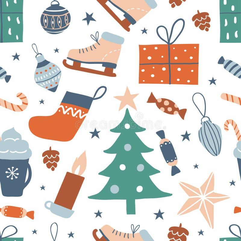 Het naadloze patroon met leuke getrokken hand heeft bezwaar: Kerstboom, sok, giftdoos, royalty-vrije illustratie