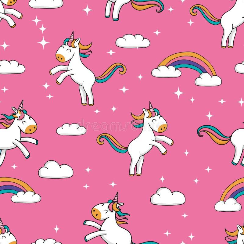 Het naadloze patroon met leuke hand getrokken beeldverhaaleenhoorns en het regenboogontwerp op roze schitteren achtergrond - het  vector illustratie