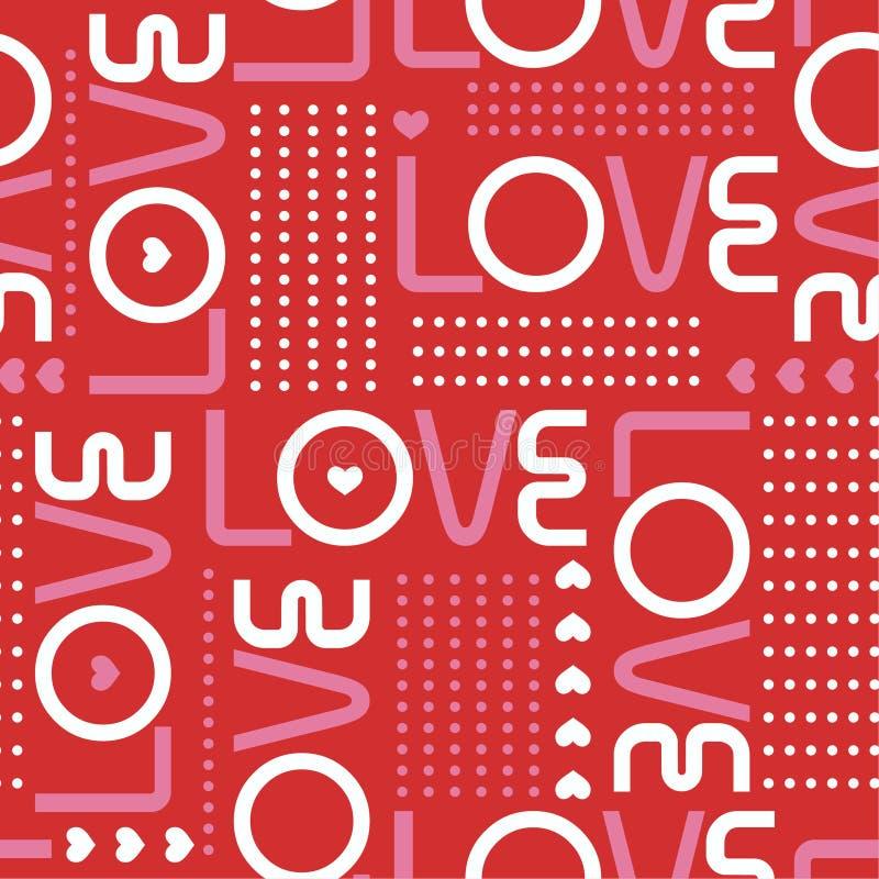 Het naadloze patroon met liefdewoorden, en de miniharten met lijn van cirkelstippen modren binnen de stemmingsontwerp van stijlva vector illustratie