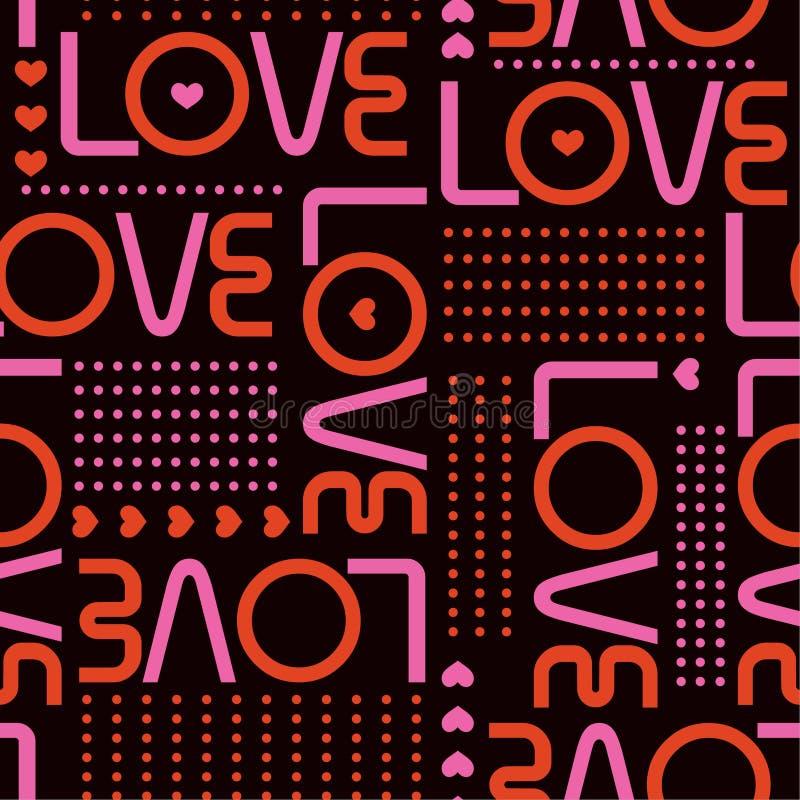 Het naadloze patroon met liefdewoorden, en de miniharten met lijn van cirkelstippen modren binnen stijlontwerp voor manier, stof, vector illustratie