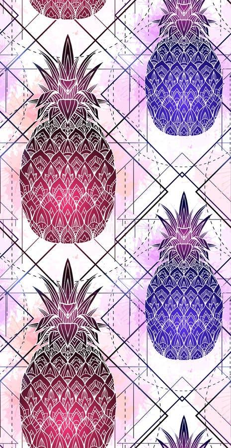 Het naadloze patroon met mystieke ananassen met een contourtekening en een roze waterverf bespat op een rij vector illustratie
