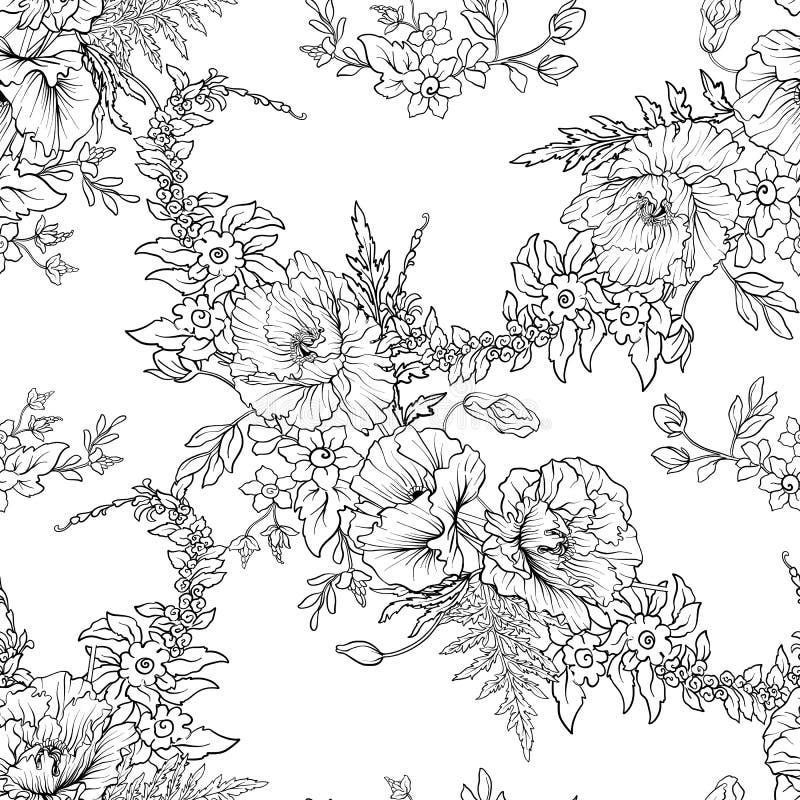 Het naadloze patroon met papaver bloeit binnen gele narcis, anemoon, viooltje stock illustratie
