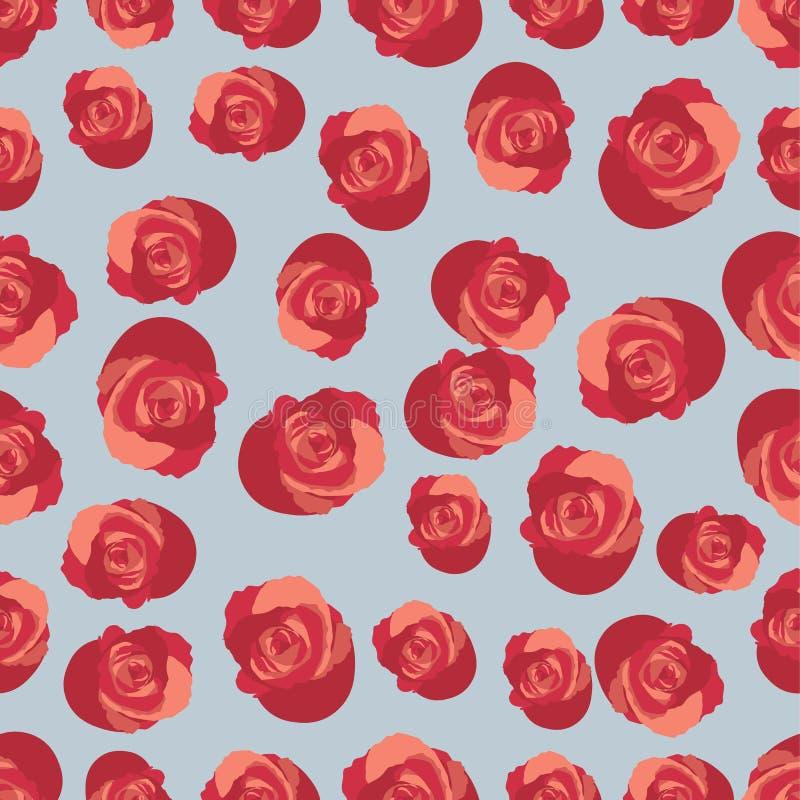 Het naadloze patroon met rozen geeft de contouren aan van rode zwart-witte Vector royalty-vrije illustratie
