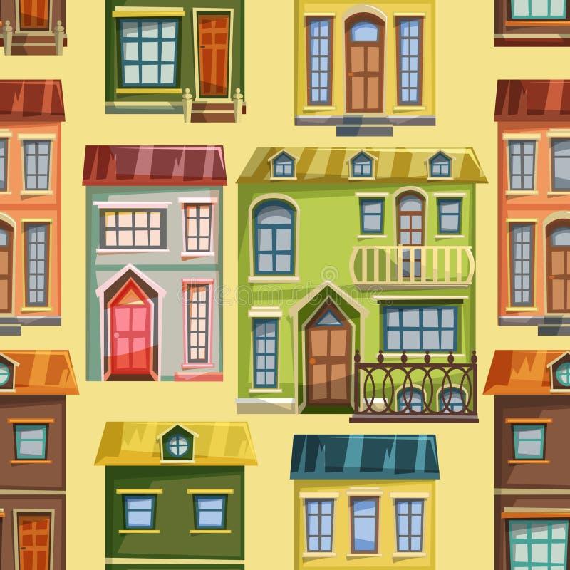 Het naadloze patroon met stad huisvest voorgevels stock illustratie