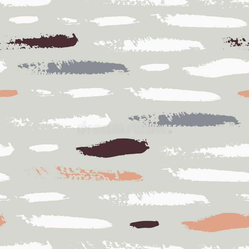 Het naadloze patroon met vlekken, strepen, cirkels, slagen schilderde met inkt en mascara royalty-vrije illustratie