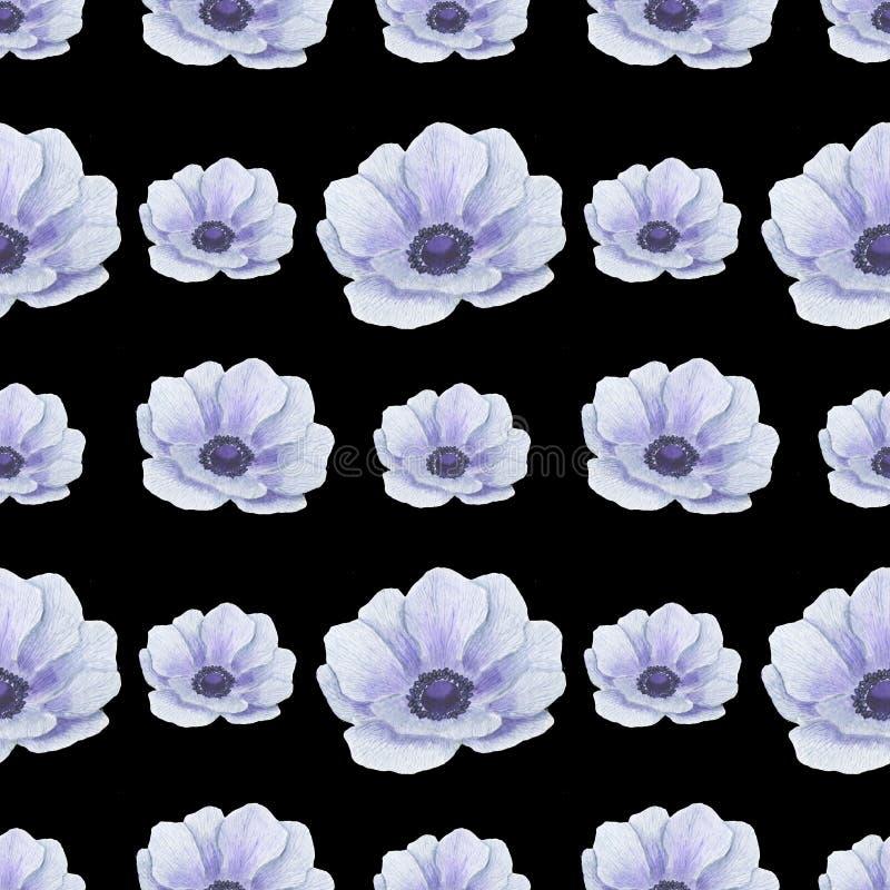 Het naadloze patroon met waterverf bloeit Anemone Illustration van van het bladtexturen van bladtwijgen Bloemen met de hand gemaa vector illustratie