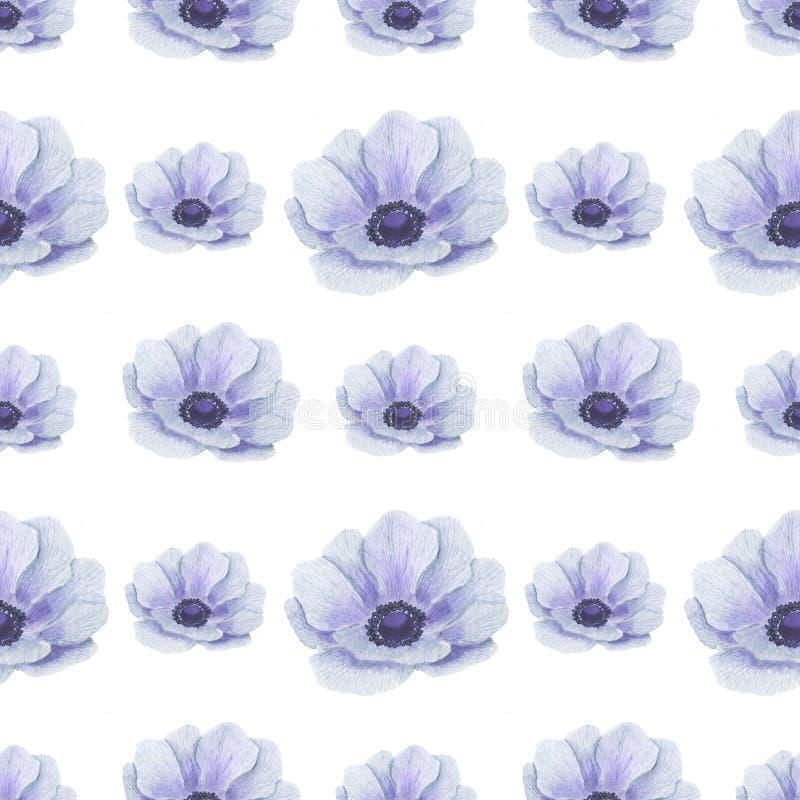 Het naadloze patroon met waterverf bloeit Anemone Illustration van van het bladtexturen van bladtwijgen Bloemen met de hand gemaa royalty-vrije illustratie