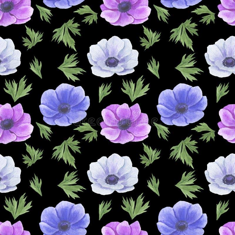 Het naadloze patroon met waterverf bloeit Anemone Illustration van van het bladtexturen van bladtwijgen Bloemen met de hand gemaa stock illustratie