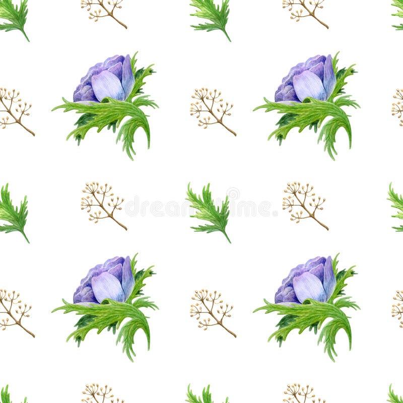 Het naadloze patroon met waterverf witte purper nam bloemen toe De lente bloemenontwerp voor huwelijksuitnodiging royalty-vrije illustratie