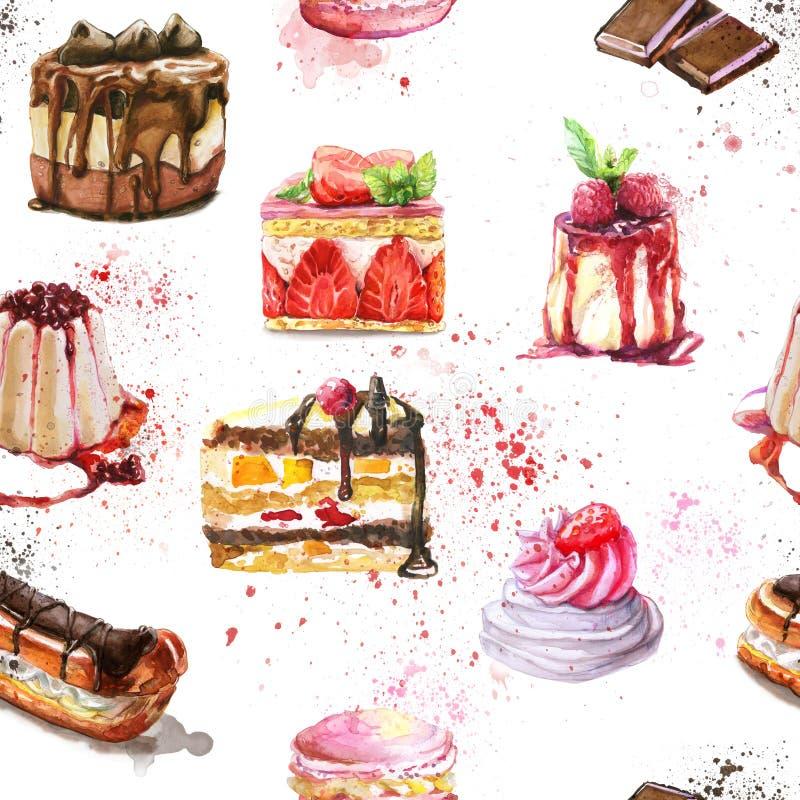 Het naadloze patroon met waterverfhand schilderde zoete en smakelijke cakes royalty-vrije illustratie