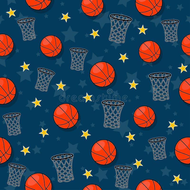 Het naadloze patroon op het basketbalthema stock foto's