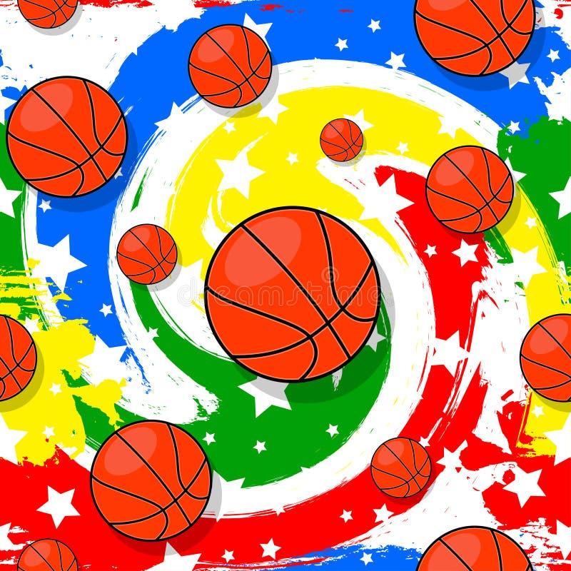 Het naadloze patroon op het basketbalthema royalty-vrije stock fotografie