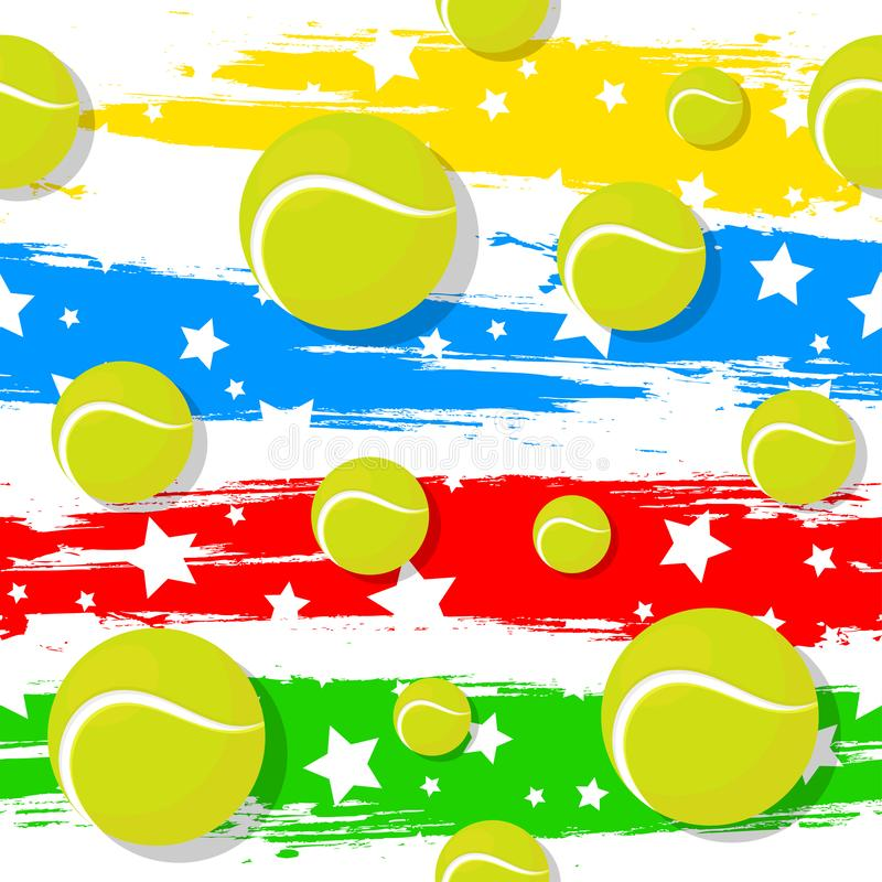 Het naadloze patroon op het tennisthema stock afbeelding