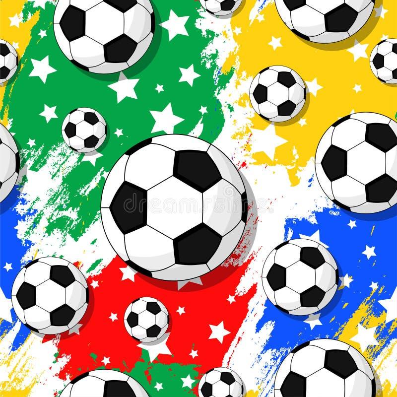 Het naadloze patroon op het voetbalthema stock foto's
