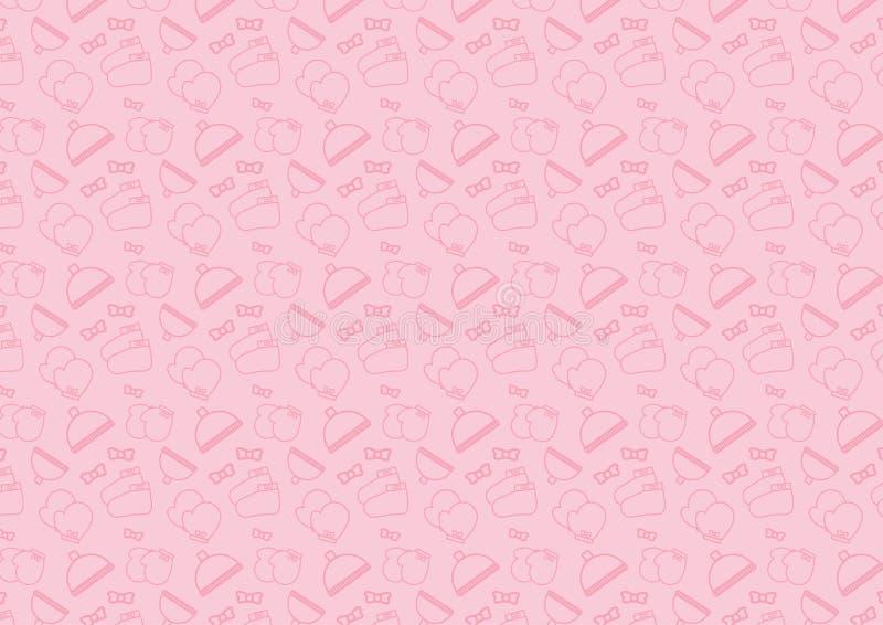 Het naadloze patroon in het pictogram van de lijnstijl met babytoebehoren als thema heeft volledig editable resizable vector in z stock illustratie