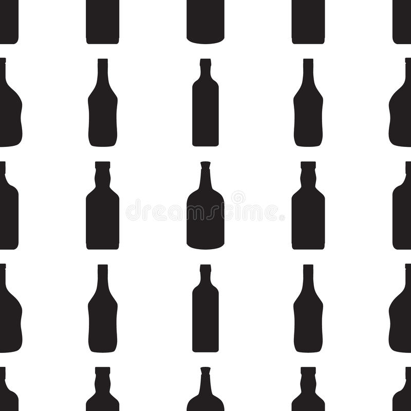 Het naadloze patroon van alcoholflessen Zwarte silhouetten in beeldverhaal vlakke stijl stock illustratie