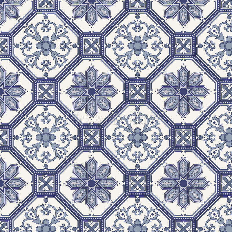 Het naadloze patroon van Arabesque in blauw en grijs vector illustratie