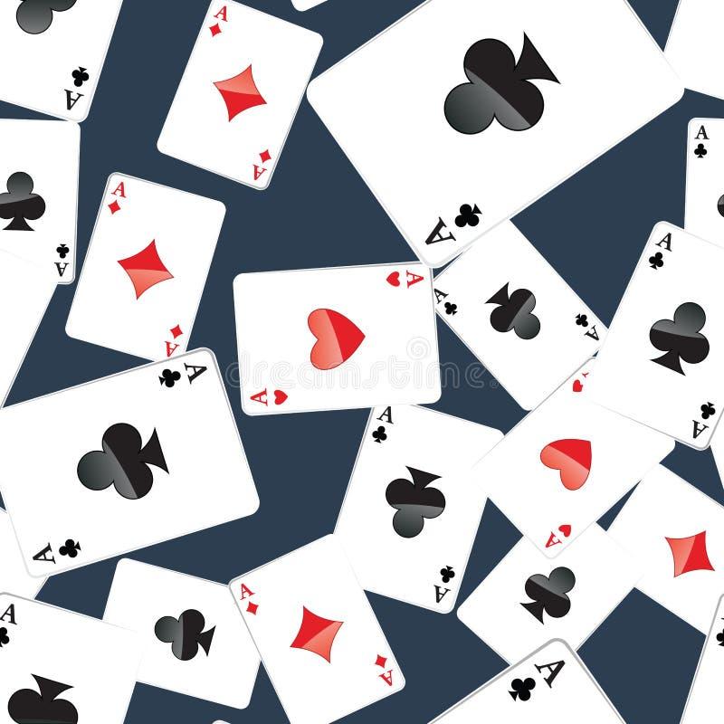 Het naadloze patroon van azenspeelkaarten royalty-vrije illustratie