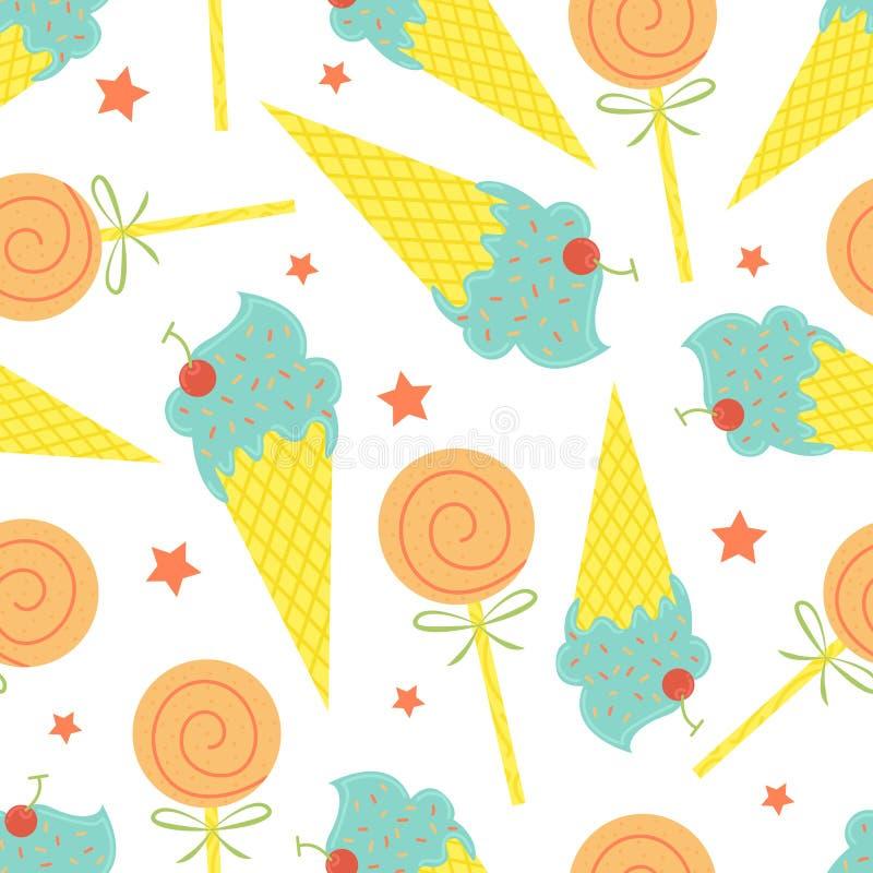 Het naadloze patroon van het beeldverhaal Vector de zomerachtergrond Roomijskegels royalty-vrije illustratie