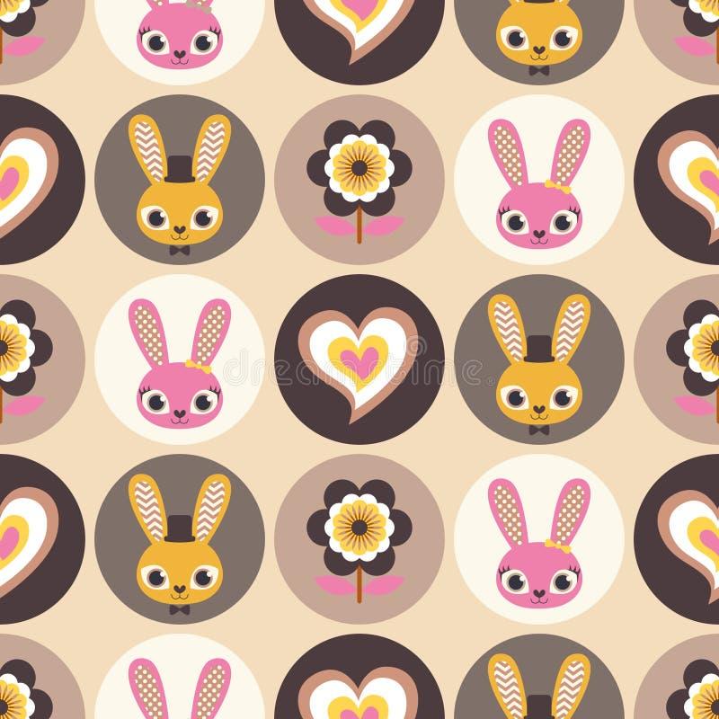 Het naadloze patroon van beeldverhaalkonijnen vector illustratie