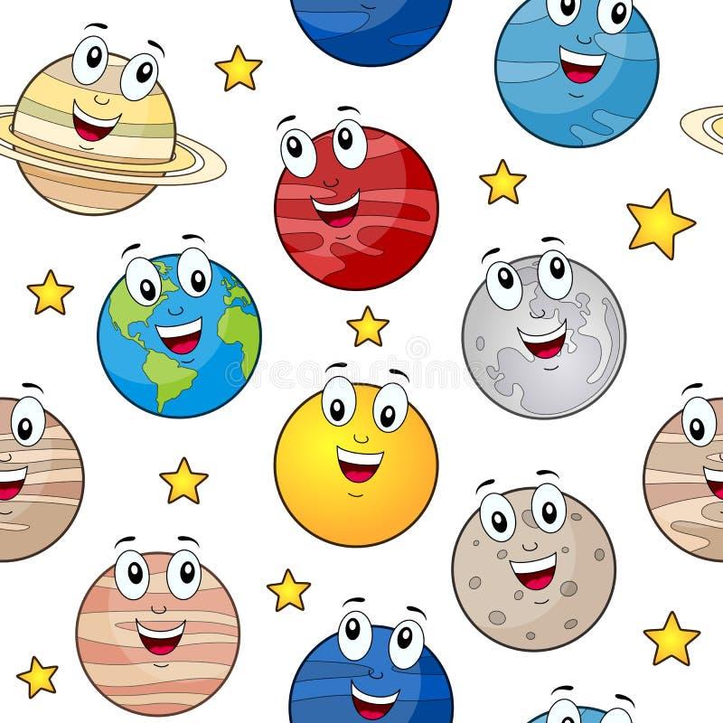 Het Naadloze Patroon van beeldverhaalplaneten royalty-vrije illustratie