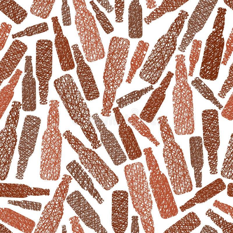 Het naadloze patroon van bierflessen, de naadloze achtergrond van het Barthema, ve stock illustratie