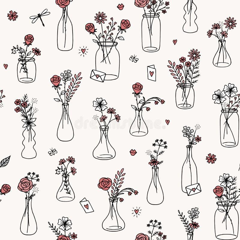 Het naadloze patroon van het bloemboeket met rode rozen stock illustratie