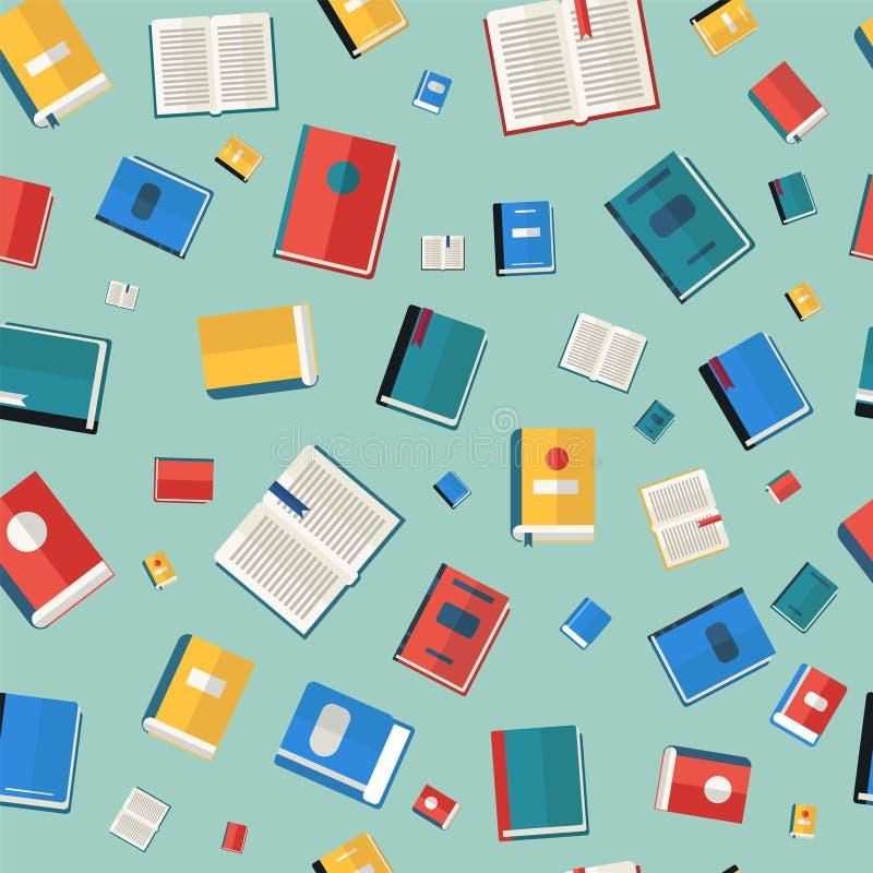 Het Naadloze Patroon van boeken Verschillende kleurrijke boeken stock illustratie
