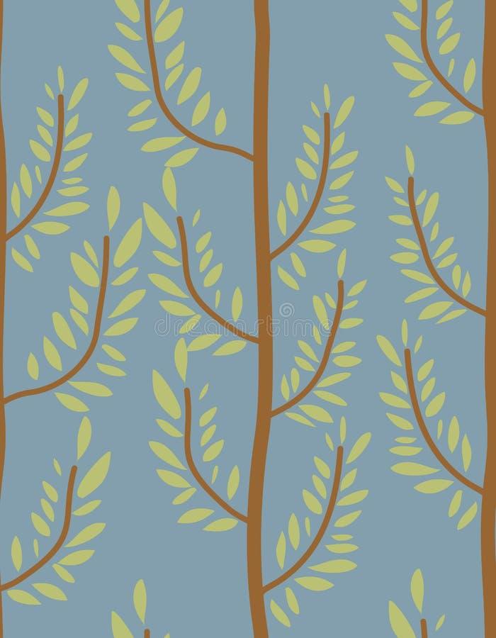 Het naadloze patroon van bomen Boomstam en bladtextuur Natuurlijke B stock illustratie