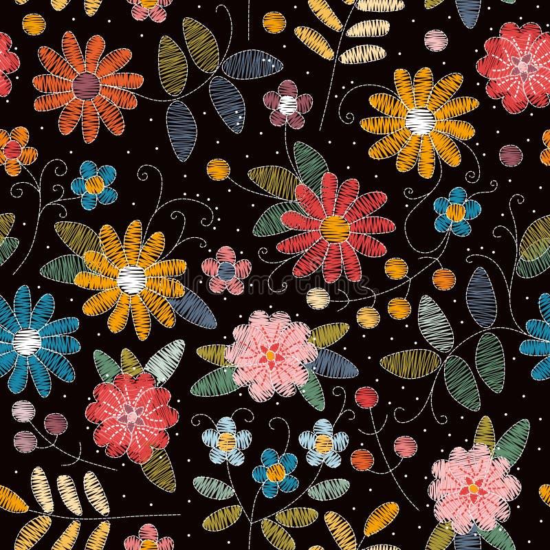 Het naadloze patroon van het borduurwerk Mooie de zomerbloemen Decoratief bloemenornament stock illustratie