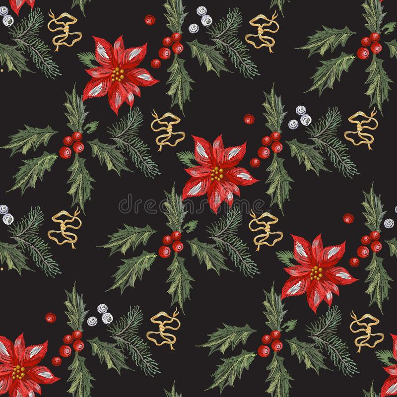 Het naadloze patroon van borduurwerkkerstmis met rode bloemen, pijnboom en maretak stock illustratie
