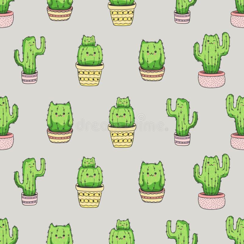 Het naadloze patroon van cactuskatten Vectorachtergrond met leuke beeldverhaalcactus stock illustratie