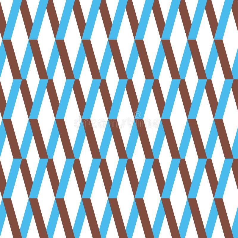 Het naadloze patroon van het chevronornament Kleurrijke blauwe en bruine zigzagachtergrond stock illustratie