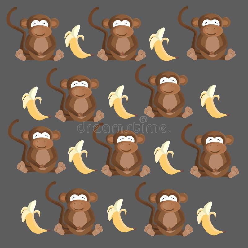 Het naadloze patroon van de aap en van de banaan stock illustratie